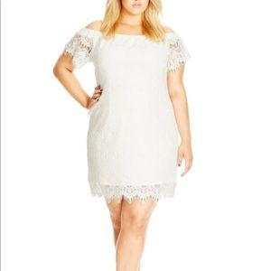 City Chic Ivory Lace Off-Shoulder Shift Dress
